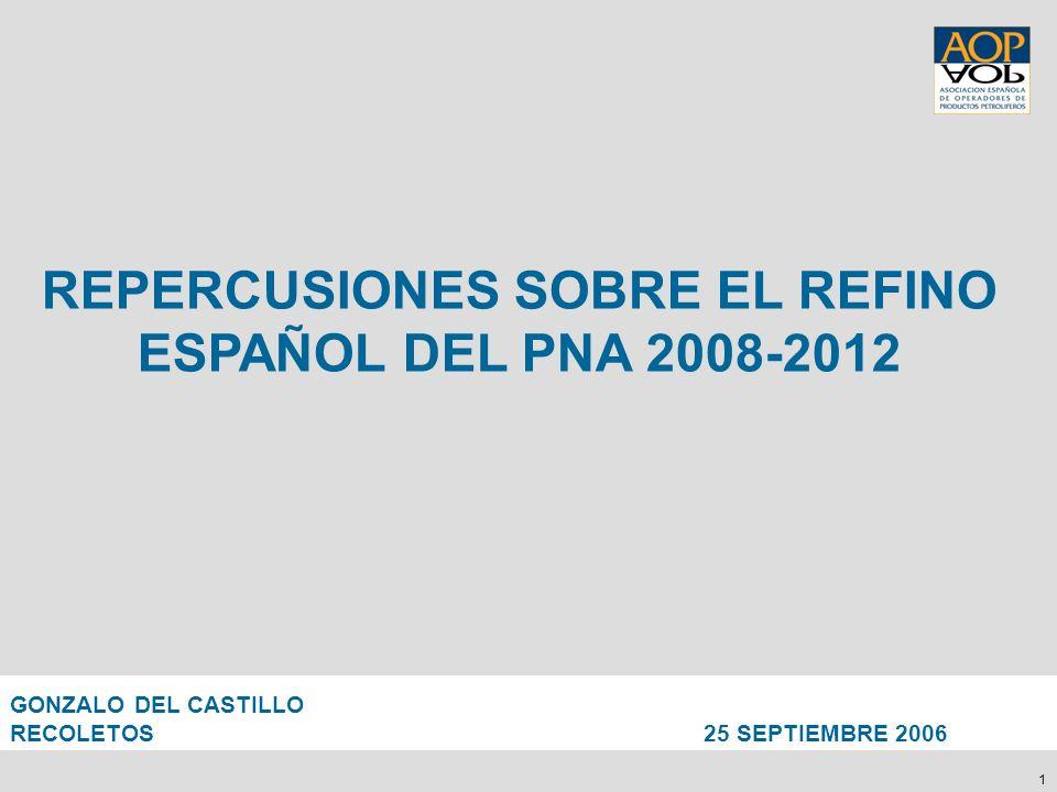 1 REPERCUSIONES SOBRE EL REFINO ESPAÑOL DEL PNA 2008-2012 GONZALO DEL CASTILLO RECOLETOS 25 SEPTIEMBRE 2006