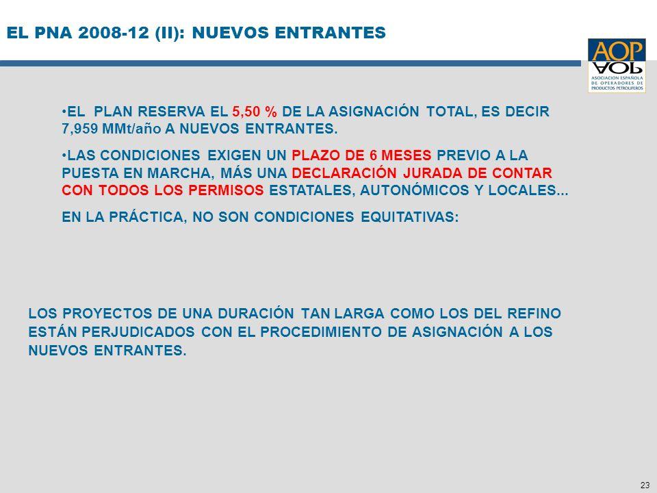 23 EL PNA 2008-12 (II): NUEVOS ENTRANTES LOS PROYECTOS DE UNA DURACIÓN TAN LARGA COMO LOS DEL REFINO ESTÁN PERJUDICADOS CON EL PROCEDIMIENTO DE ASIGNA