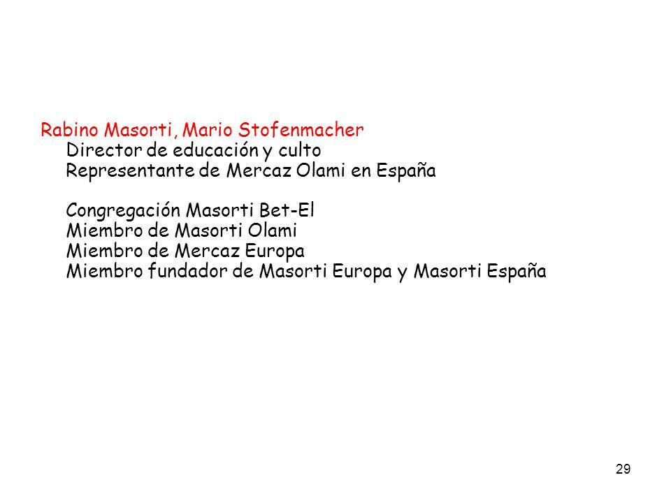 29 Rabino Masorti, Mario Stofenmacher Director de educación y culto Representante de Mercaz Olami en España Congregación Masorti Bet-El Miembro de Mas