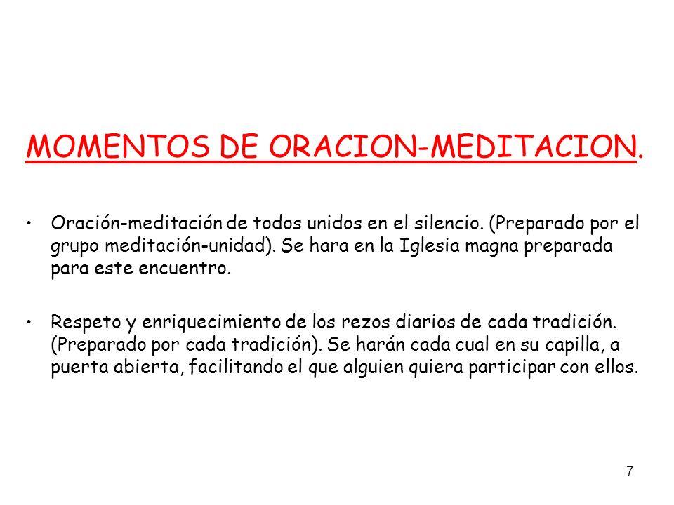 7 MOMENTOS DE ORACION-MEDITACION. Oración-meditación de todos unidos en el silencio. (Preparado por el grupo meditación-unidad). Se hara en la Iglesia