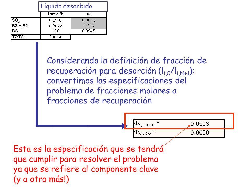 Considerando la definición de fracción de recuperación para desorción (l i,0 /l i,N+1 ): convertimos las especificaciones del problema de fracciones m