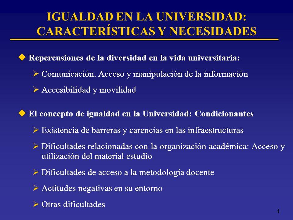 4 IGUALDAD EN LA UNIVERSIDAD: CARACTERÍSTICAS Y NECESIDADES uRepercusiones de la diversidad en la vida universitaria: Comunicación. Acceso y manipulac