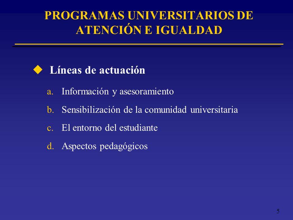 5 PROGRAMAS UNIVERSITARIOS DE ATENCIÓN E IGUALDAD u Líneas de actuación a.Información y asesoramiento b.Sensibilización de la comunidad universitaria