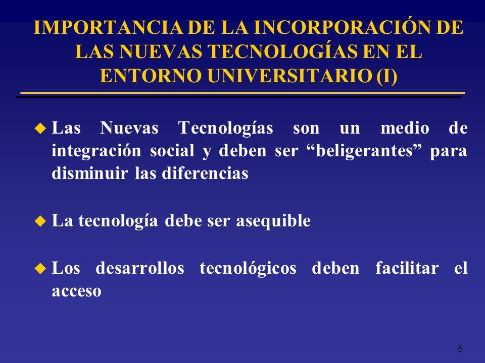 6 u Las Nuevas Tecnologías son un medio de integración social y deben ser beligerantes para disminuir las diferencias u La tecnología debe ser asequib