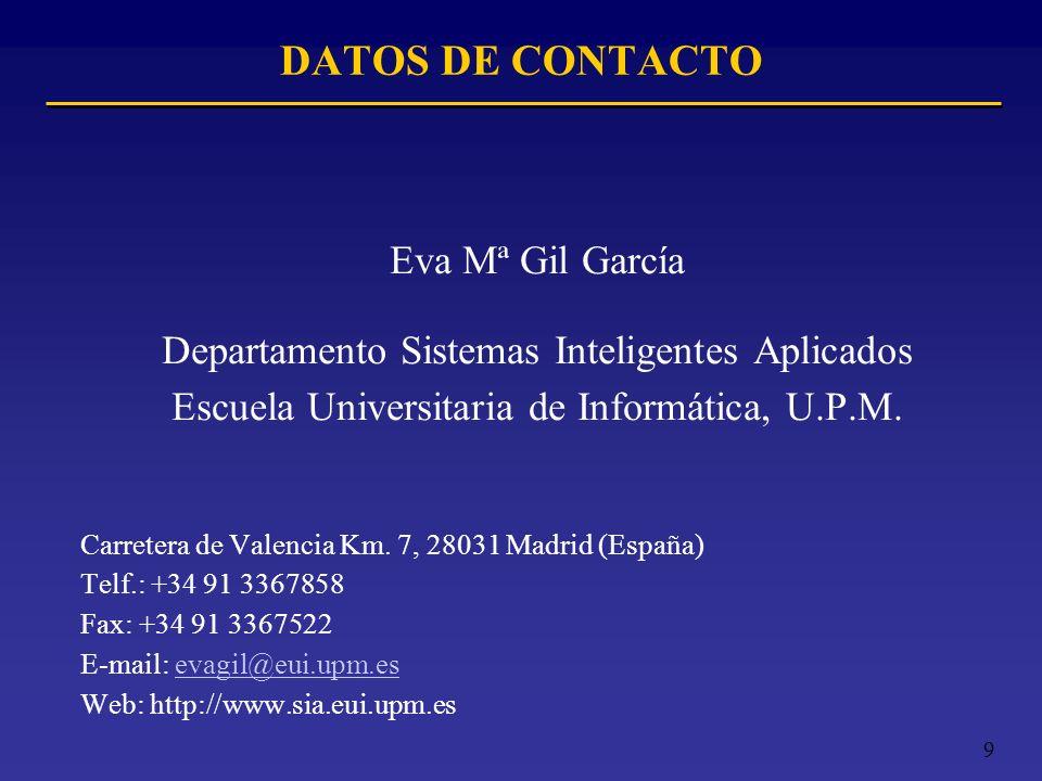 9 DATOS DE CONTACTO Eva Mª Gil García Departamento Sistemas Inteligentes Aplicados Escuela Universitaria de Informática, U.P.M. Carretera de Valencia