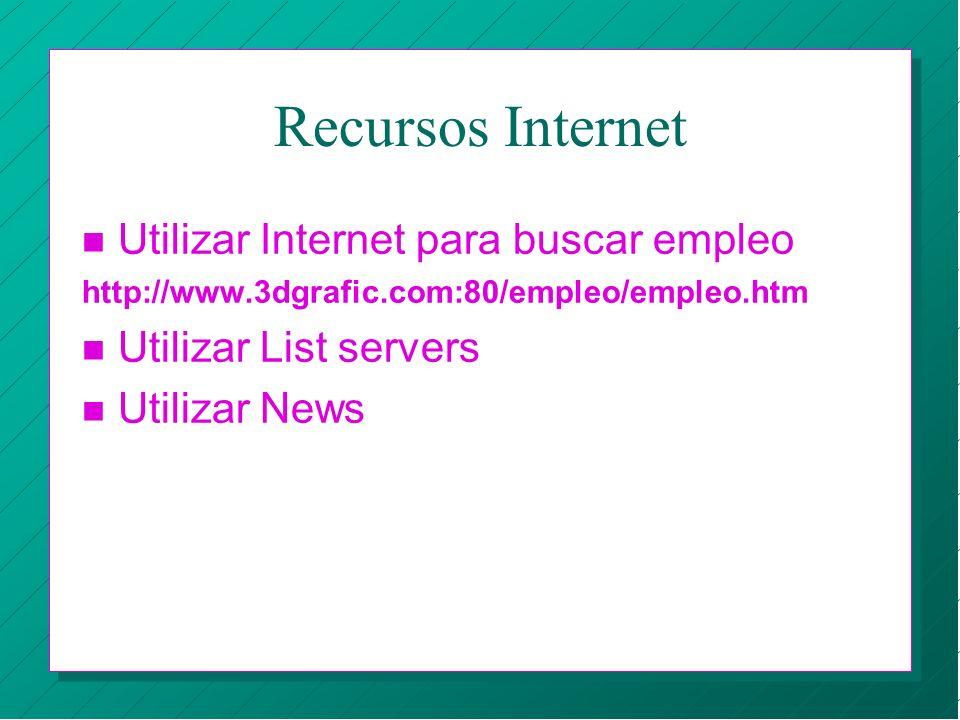 Recursos Internet n Utilizar Internet para buscar empleo http://www.3dgrafic.com:80/empleo/empleo.htm n Utilizar List servers n Utilizar News