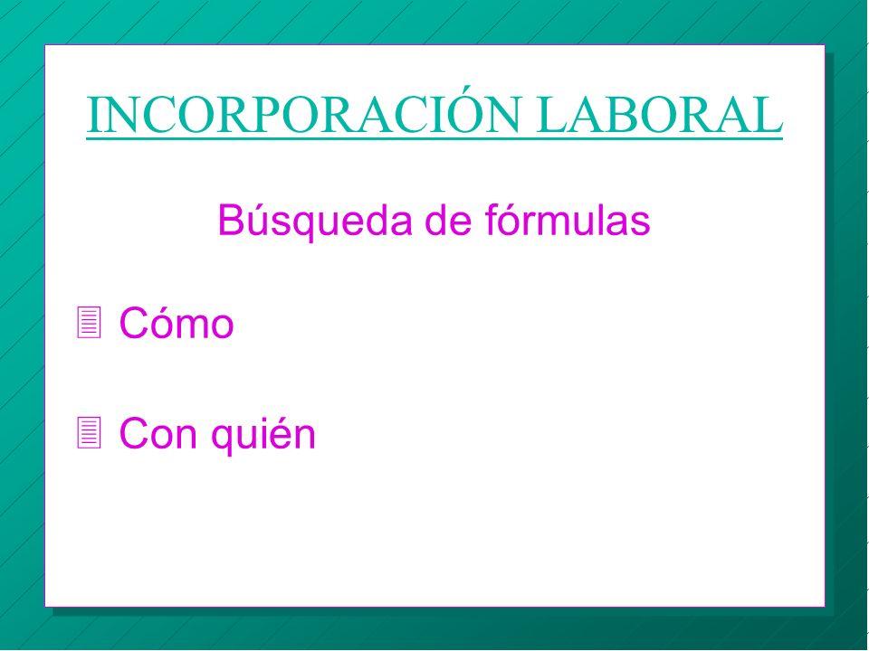 INCORPORACIÓN LABORAL Búsqueda de fórmulas 3 Cómo 3 Con quién