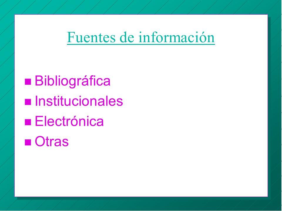 Fuentes de información n Bibliográfica n Institucionales n Electrónica n Otras