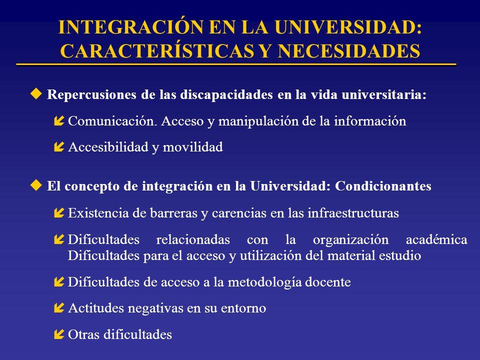 INTEGRACIÓN EN LA UNIVERSIDAD: CARACTERÍSTICAS Y NECESIDADES uRepercusiones de las discapacidades en la vida universitaria: íComunicación.