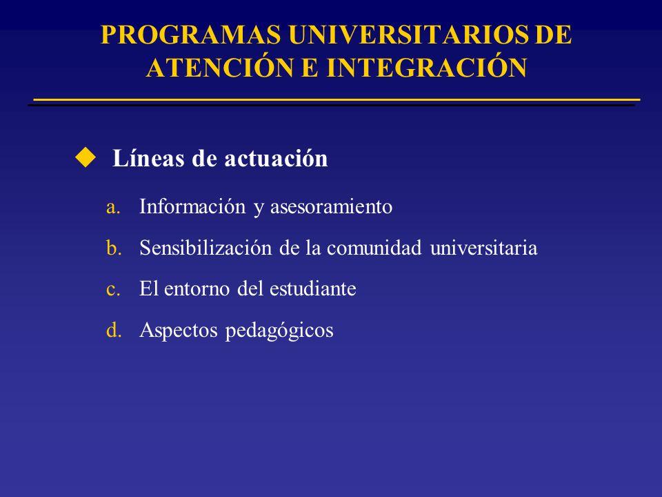PROGRAMAS UNIVERSITARIOS DE ATENCIÓN E INTEGRACIÓN u Líneas de actuación a.Información y asesoramiento b.Sensibilización de la comunidad universitaria c.El entorno del estudiante d.Aspectos pedagógicos