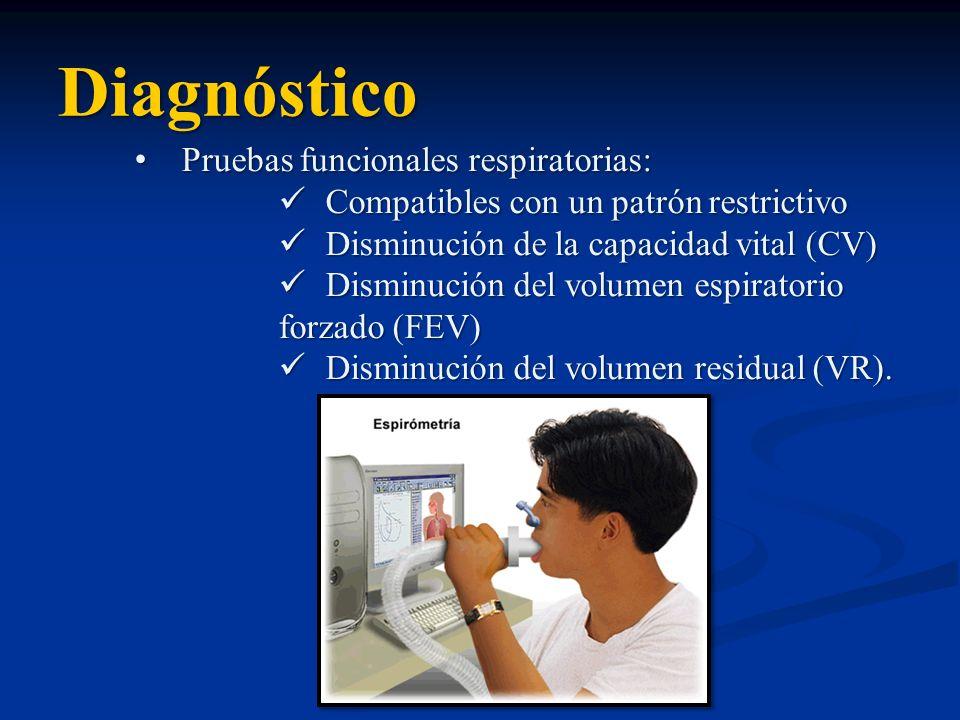 Diagnóstico Pruebas funcionales respiratorias:Pruebas funcionales respiratorias: Compatibles con un patrón restrictivo Compatibles con un patrón restr
