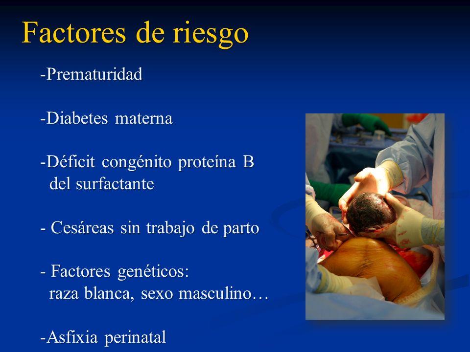 Factores de riesgo -Prematuridad -Diabetes materna -Déficit congénito proteína B del surfactante del surfactante - Cesáreas sin trabajo de parto - Fac