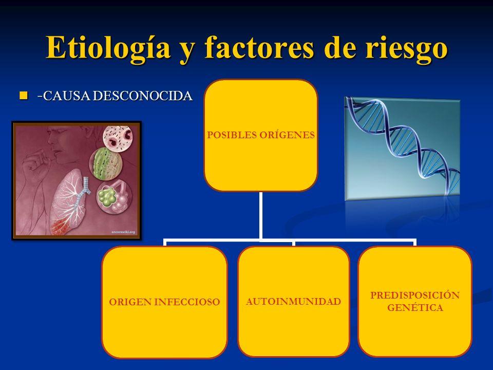 Etiología y factores de riesgo - CAUSA DESCONOCIDA - CAUSA DESCONOCIDA POSIBLES ORÍGENES ORIGEN INFECCIOSO AUTOINMUNIDAD PREDISPOSICIÓN GENÉTICA