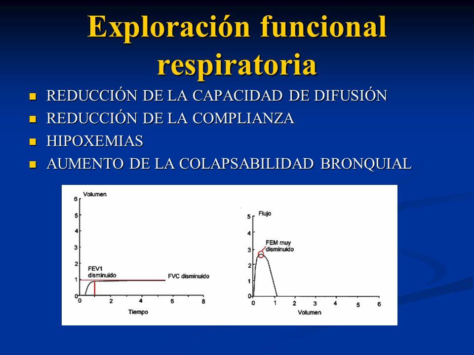Exploración funcional respiratoria REDUCCIÓN DE LA CAPACIDAD DE DIFUSIÓN REDUCCIÓN DE LA CAPACIDAD DE DIFUSIÓN REDUCCIÓN DE LA COMPLIANZA REDUCCIÓN DE