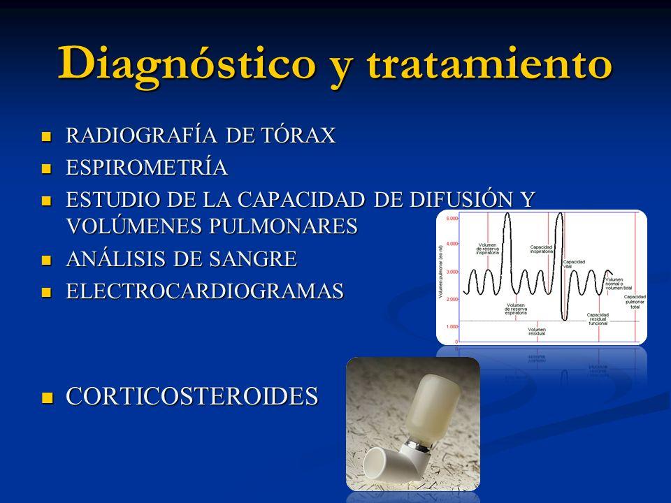 Diagnóstico y tratamiento RADIOGRAFÍA DE TÓRAX RADIOGRAFÍA DE TÓRAX ESPIROMETRÍA ESPIROMETRÍA ESTUDIO DE LA CAPACIDAD DE DIFUSIÓN Y VOLÚMENES PULMONAR