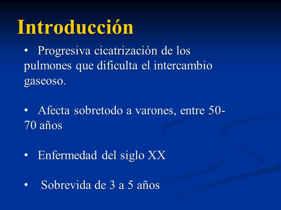 Introducción Progresiva cicatrización de los pulmones que dificulta el intercambio gaseoso.Progresiva cicatrización de los pulmones que dificulta el i