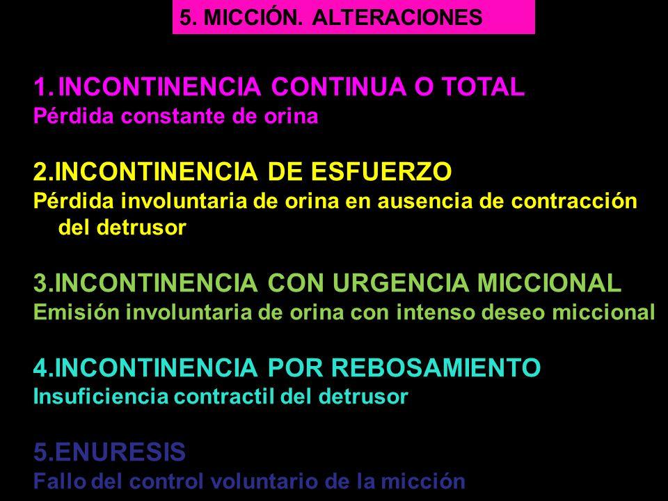1.INCONTINENCIA CONTINUA O TOTAL Pérdida constante de orina 2.INCONTINENCIA DE ESFUERZO Pérdida involuntaria de orina en ausencia de contracción del d