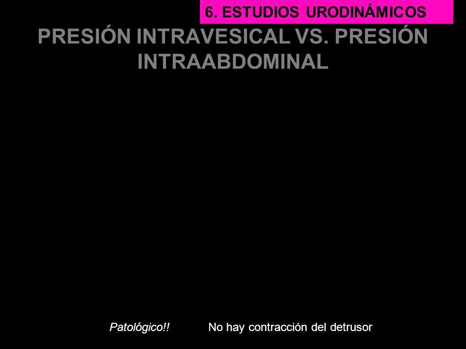 PRESIÓN INTRAVESICAL VS. PRESIÓN INTRAABDOMINAL Patológico!! 6. ESTUDIOS URODINÁMICOS No hay contracción del detrusor