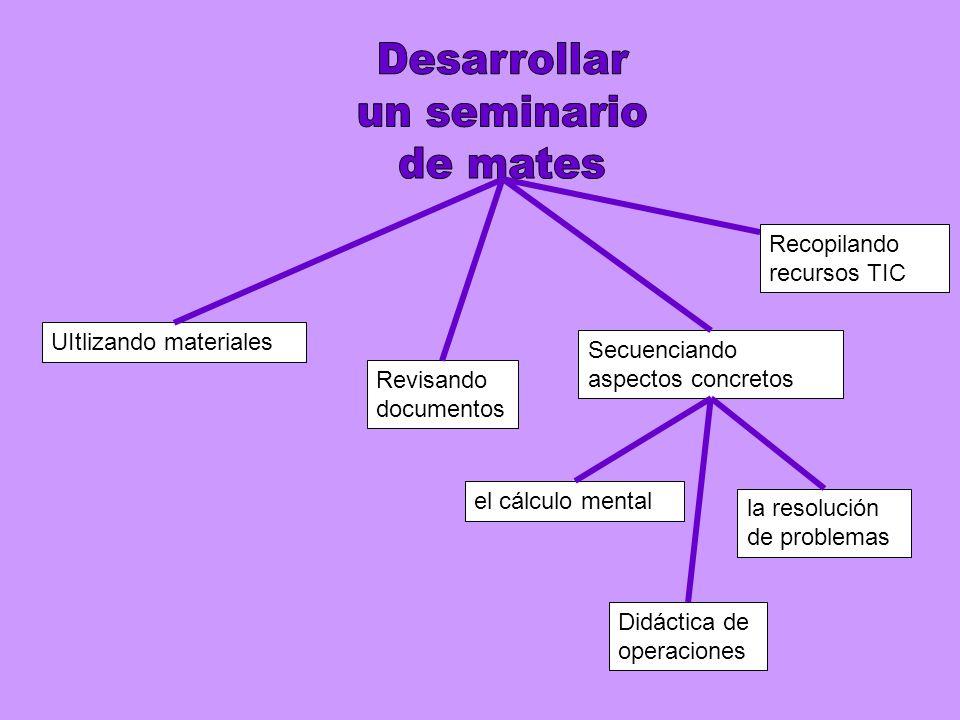 UItlizando materiales Secuenciando aspectos concretos el cálculo mental la resolución de problemas Revisando documentos Didáctica de operaciones Recopilando recursos TIC