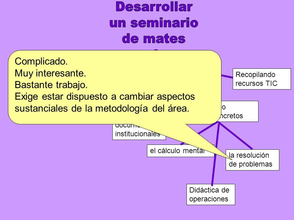 UItlizando materiales Secuenciando aspectos concretos Revisando documentos institucionales el cálculo mental la resolución de problemas Didáctica de operaciones Recopilando recursos TIC Complicado.