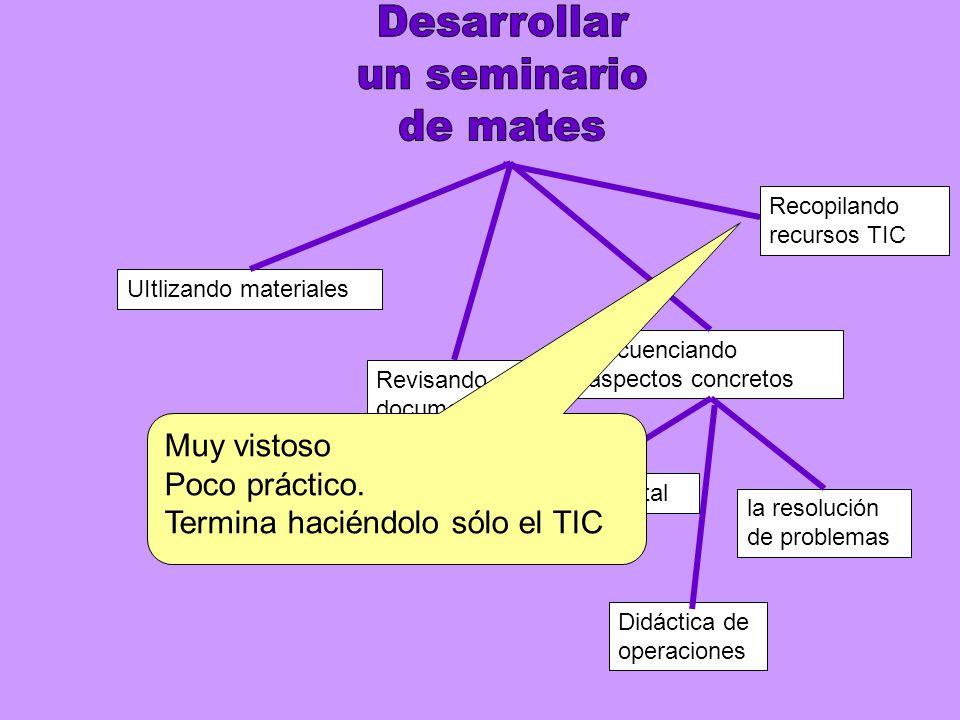 UItlizando materiales Secuenciando aspectos concretos Revisando documentos institucionales el cálculo mental la resolución de problemas Didáctica de operaciones Recopilando recursos TIC Muy vistoso Poco práctico.