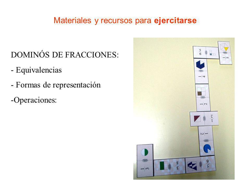 Materiales y recursos para ejercitarse BARAJA DE FRACCIONES: - Equivalencias - Formas de representación -Operaciones: - Suma a unidad (Escoba)