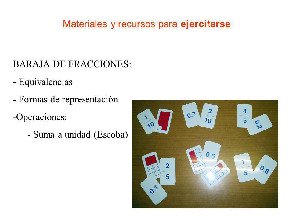 Materiales y recursos para ejercitarse DIAGRAMAS FIJOS: - Equivalencias - Formas de representación -Operaciones: - Suma a unidad (Escoba)
