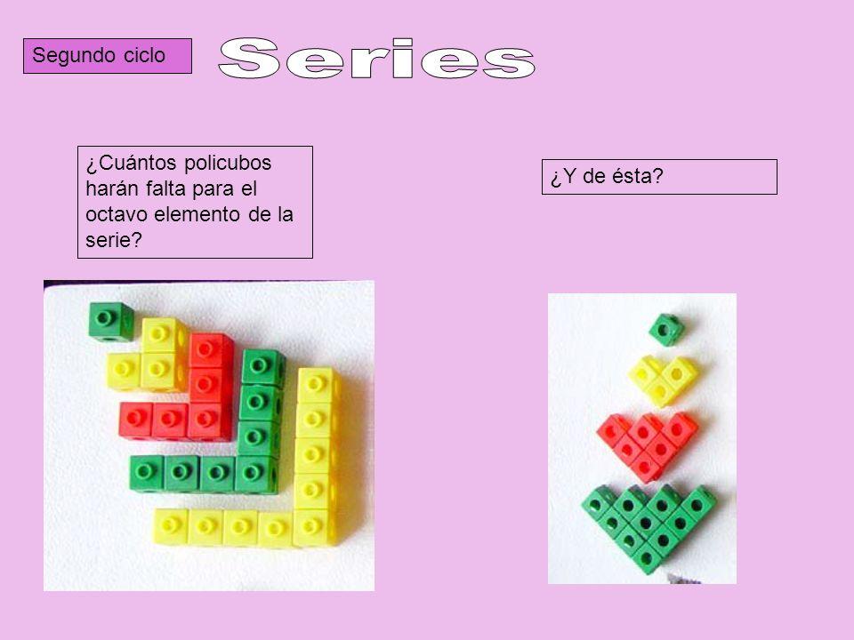Segundo ciclo ¿Cuántos policubos harán falta para el octavo elemento de la serie? ¿Y de ésta?