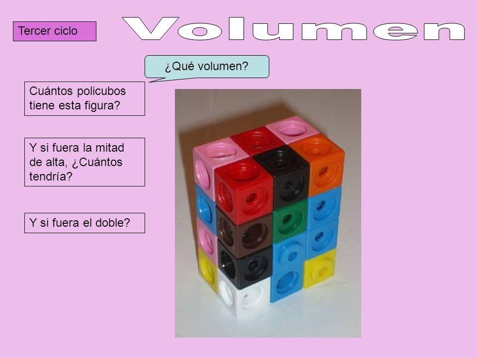 Tercer ciclo Cuántos policubos tiene esta figura? Y si fuera la mitad de alta, ¿Cuántos tendría? Y si fuera el doble? ¿Qué volumen?