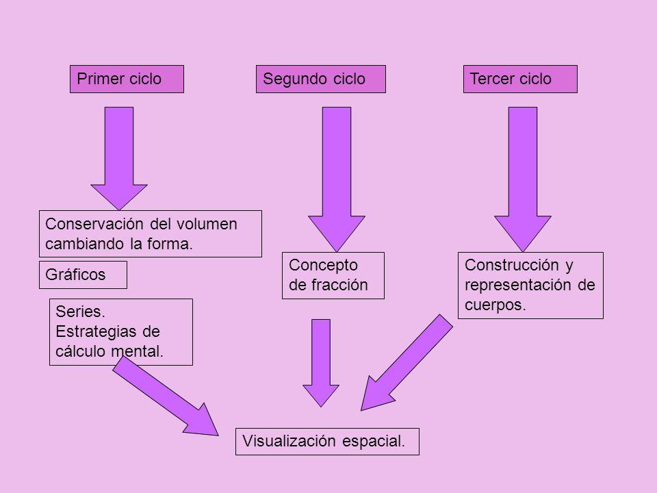 Primer cicloSegundo cicloTercer ciclo Concepto de fracción Conservación del volumen cambiando la forma. Construcción y representación de cuerpos. Seri