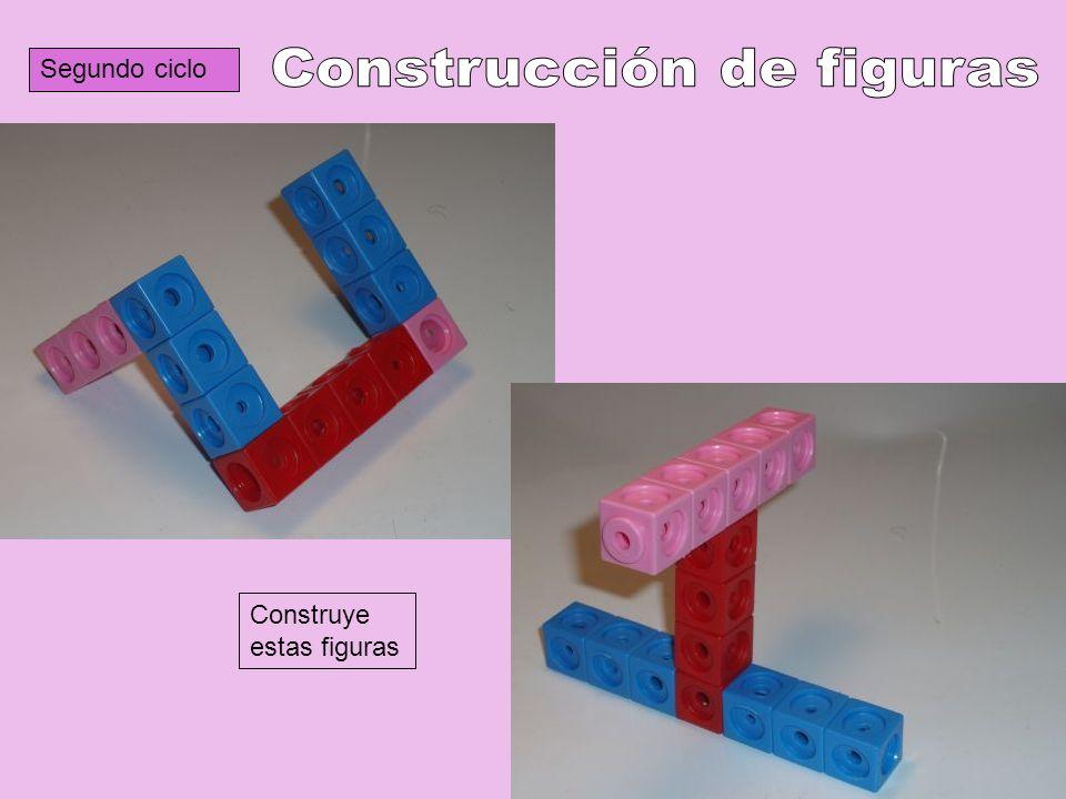 Segundo ciclo Construye estas figuras. ¿Cuántos policubos has utilizado?