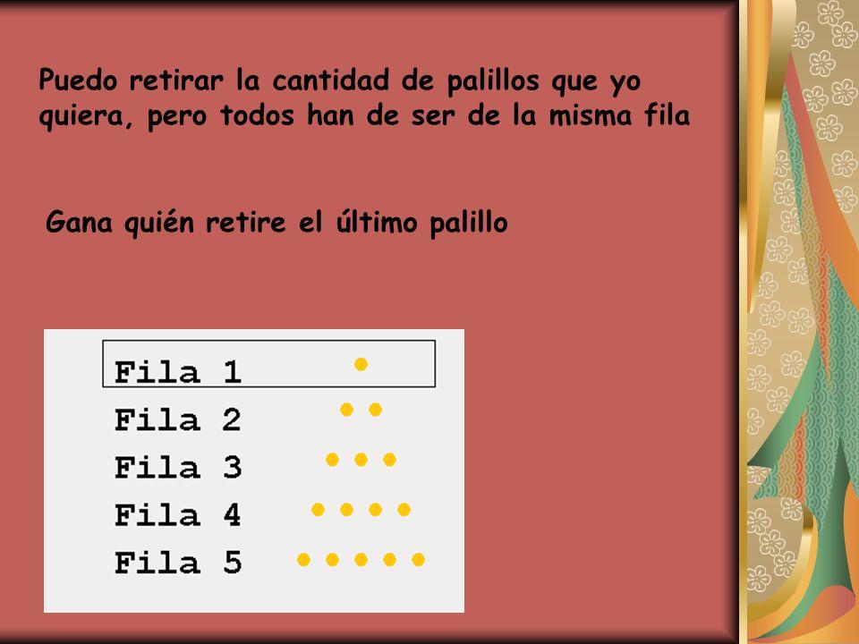 Variante: Dos jugadores disponen ante sí de un montón de 16 palillos que NO ESTÁN colocados en filas Cada jugador retira, en su turno, uno o dos objetos del montón.