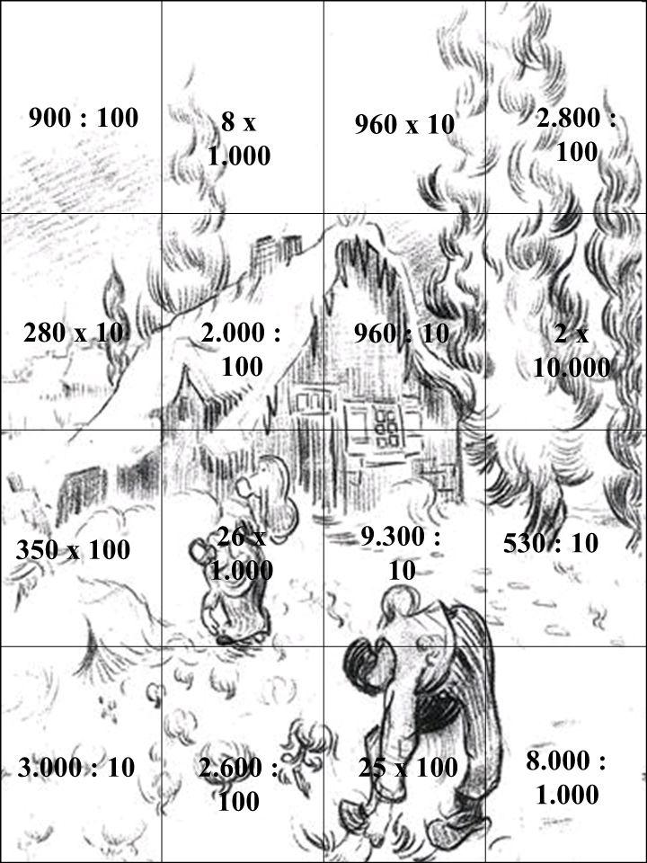 3.000 : 102.600 : 100 25 x 100 8.000 : 1.000 2 x 10.000 960 x 10 8 x 1.000 900 : 100 280 x 10 2.800 : 100 2.000 : 100 350 x 100 9.300 : 10 26 x 1.000 960 : 10 530 : 10