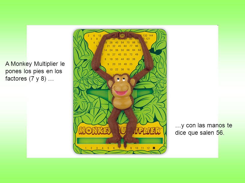 A Monkey Multiplier le pones los pies en los factores (7 y 8) … …y con las manos te dice que salen 56.