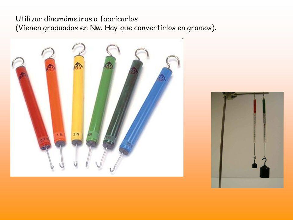 Utilizar dinamómetros o fabricarlos (Vienen graduados en Nw. Hay que convertirlos en gramos).
