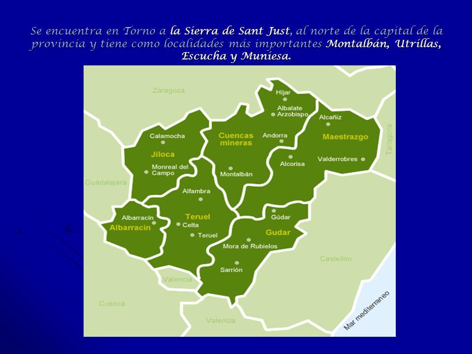 Se encuentra en Torno a la Sierra de Sant Just, al norte de la capital de la provincia y tiene como localidades más importantes Montalbán, Utrillas, E