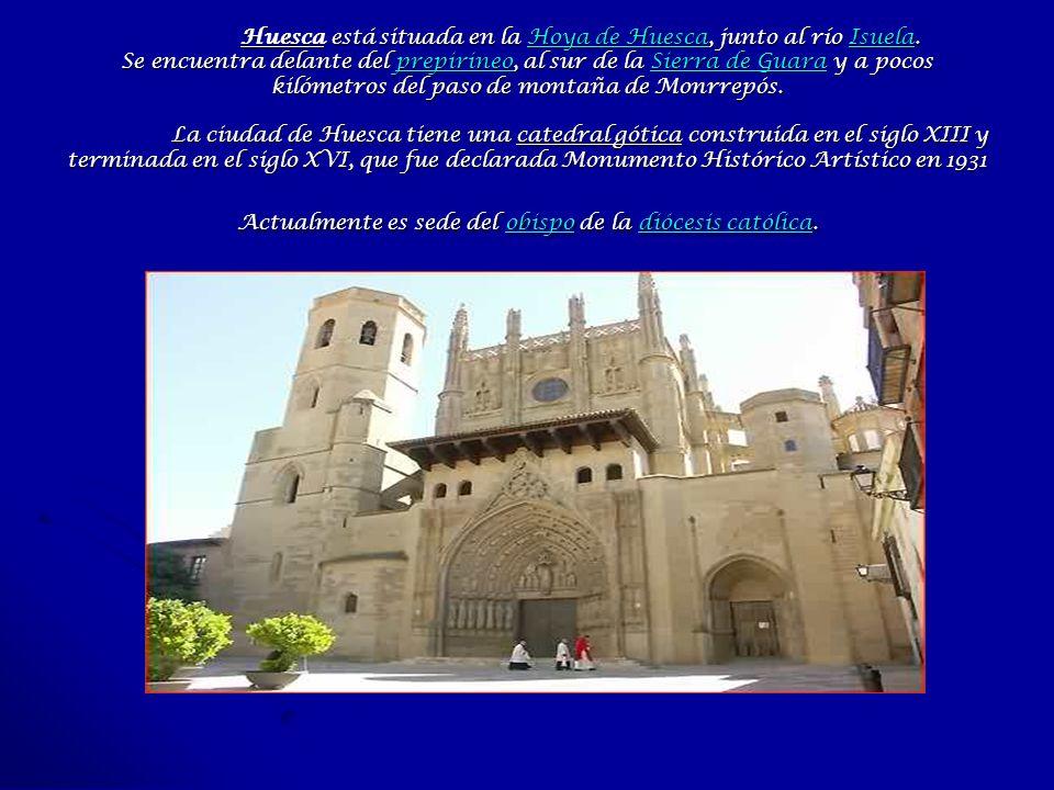 Huesca está situada en la Hoya de Huesca, junto al río Isuela. Se encuentra delante del prepirineo, al sur de la Sierra de Guara y a pocos kilómetros