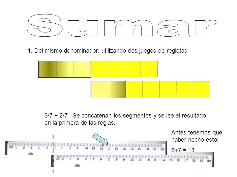 1. Del mismo denominador, utilizando dos juegos de regletas 3/7 + 2/7 Se concatenan los segmentos y se lee el resultado en la primera de las reglas. A