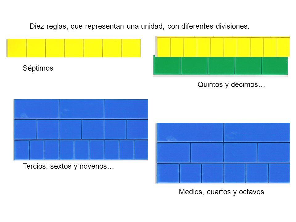 Diez reglas, que representan una unidad, con diferentes divisiones: Quintos y décimos… Tercios, sextos y novenos… Séptimos Medios, cuartos y octavos