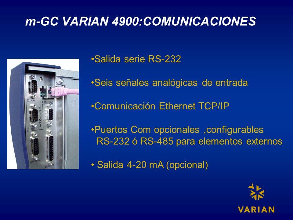 m-GC VARIAN 4900:COMUNICACIONES Salida serie RS-232 Seis señales analógicas de entrada Comunicación Ethernet TCP/IP Puertos Com opcionales,configurabl
