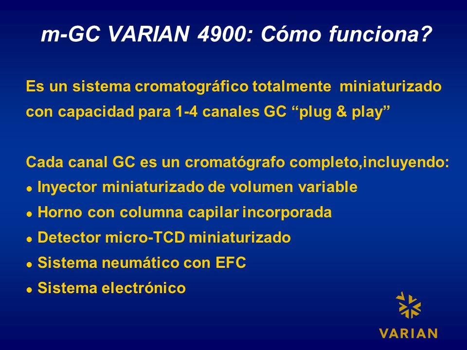 m-GC VARIAN 4900: Cómo funciona? Es un sistema cromatográfico totalmente miniaturizado con capacidad para 1-4 canales GC plug & play Cada canal GC es