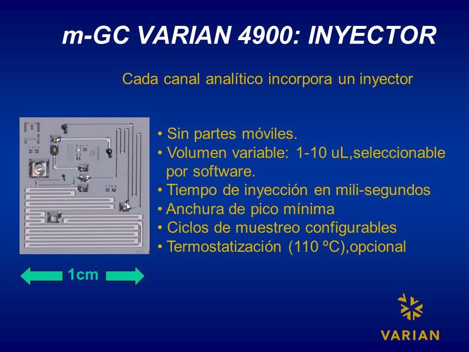 m-GC VARIAN 4900: INYECTOR 1cm Sin partes móviles. Volumen variable: 1-10 uL,seleccionable por software. Tiempo de inyección en mili-segundos Anchura