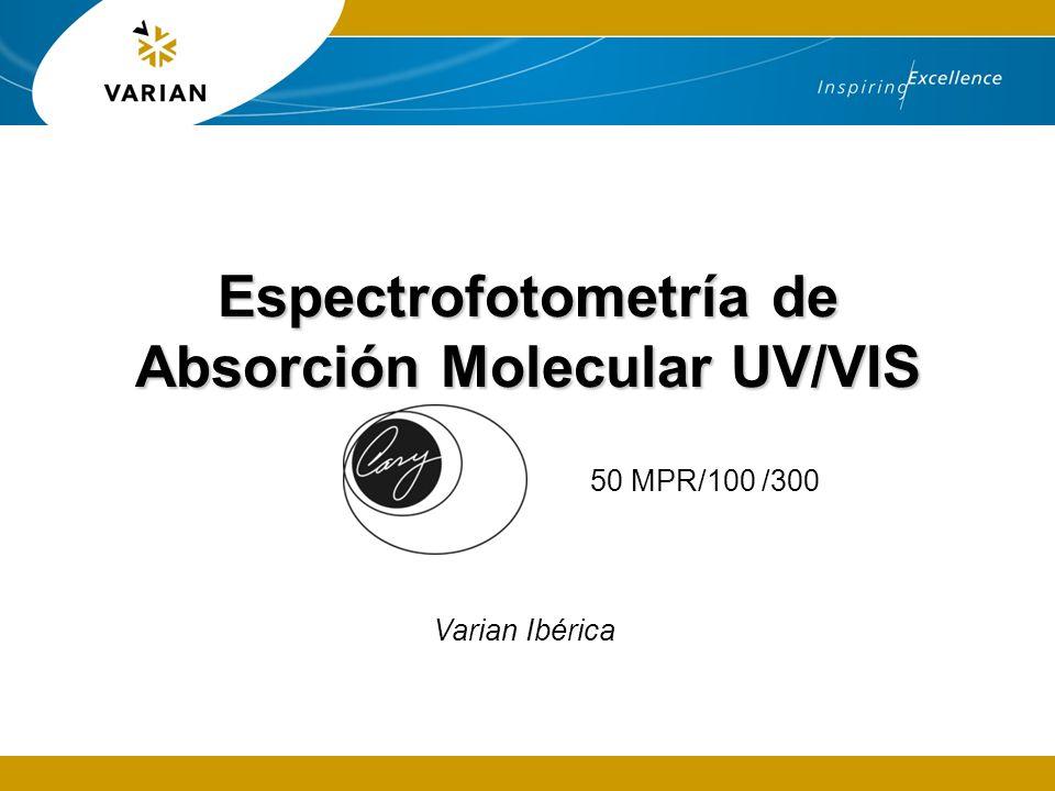 Espectrofotometría de Absorción Molecular UV/VIS 50 MPR/100 /300 Varian Ibérica