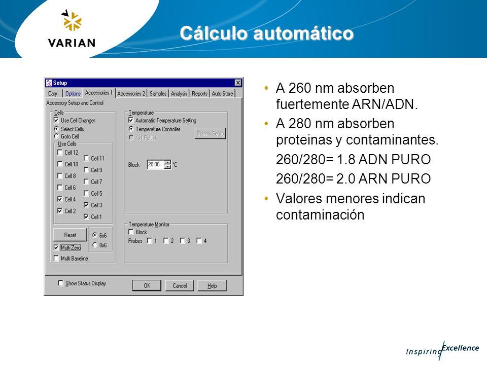 Cálculo automático A 260 nm absorben fuertemente ARN/ADN. A 280 nm absorben proteinas y contaminantes. 260/280= 1.8 ADN PURO 260/280= 2.0 ARN PURO Val