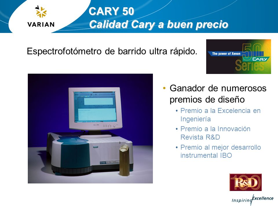 CARY 50 MPR especificaciones Specifications Source High intensity Xenon flashlamp Detectors Silicon photodiode Wavelength range 190-1100 nm Wavelength selection Czerny-Turner 0.25 m monochromator Wavelength data interval 0.15–5.0 (nm) UV/VIS limiting wavelength resolution < 1.5 nm Wavelength accuracy ± 0.5 nm at 541.9 nm Wavelength reproducibility ± 0.1 nm Maximum scan rate (single well) 24,000 nm/min Maximum data collection rate (single well) 80 points/sec Photometric range 0.0-2.5 Abs Temperature range Ambient + 4.0 to 45.0 °C set in 0.1 °C increments Temperature uniformity +/- 0.5 °C Microplate compatibility 6, 12, 24, 48, 96, 384 wells Time to read 96 wells < 50 s Time to read 384 wells < 100 s Operating system Windows XP PRO Recommended PC requirements As discussed