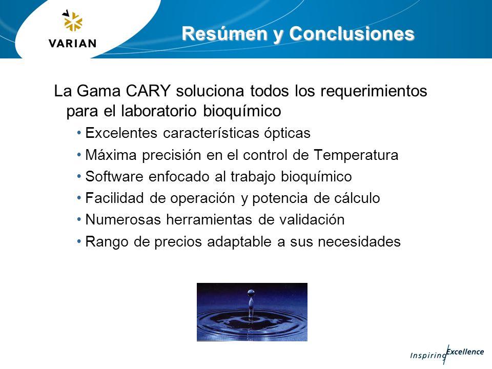 Resúmen y Conclusiones La Gama CARY soluciona todos los requerimientos para el laboratorio bioquímico Excelentes características ópticas Máxima precis