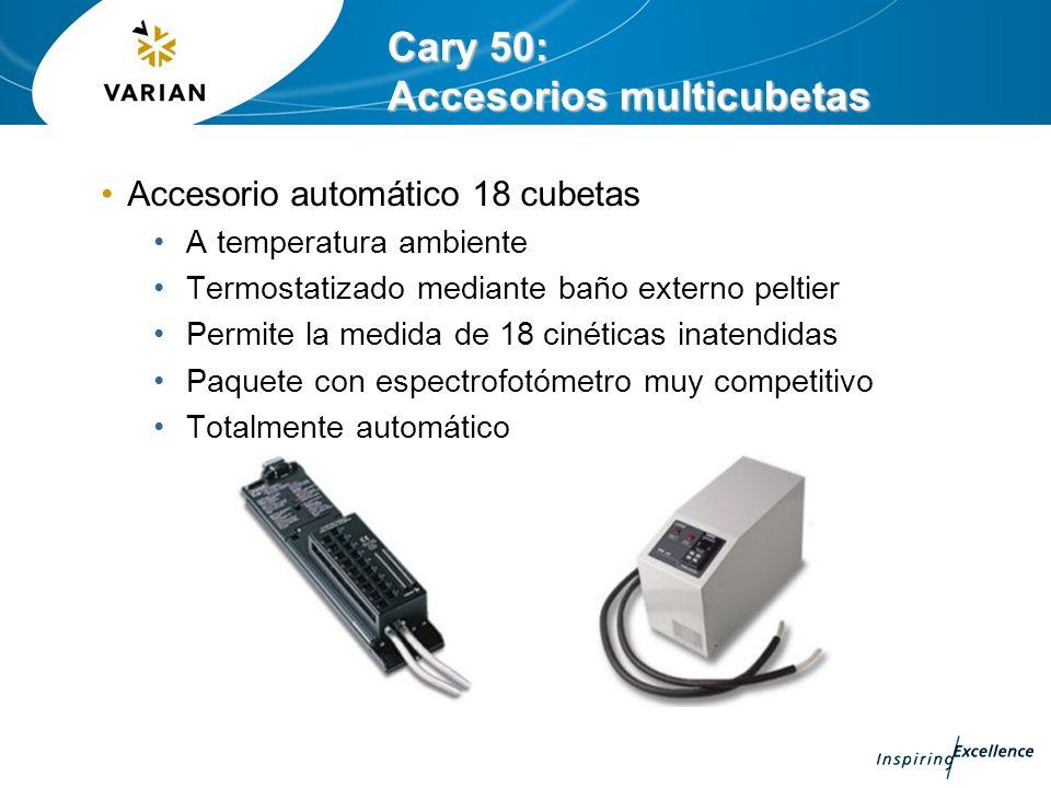 Cary 50: Accesorios multicubetas Accesorio automático 18 cubetas A temperatura ambiente Termostatizado mediante baño externo peltier Permite la medida