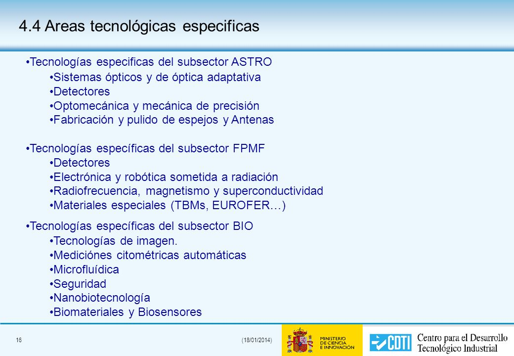16(18/01/2014) 4.4 Areas tecnológicas especificas Tecnologías especificas del subsector ASTRO Sistemas ópticos y de óptica adaptativa Detectores Optom