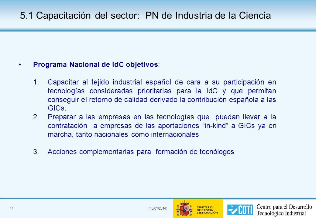 17(18/01/2014) Programa Nacional de IdC objetivos: 1.Capacitar al tejido industrial español de cara a su participación en tecnologías consideradas pri
