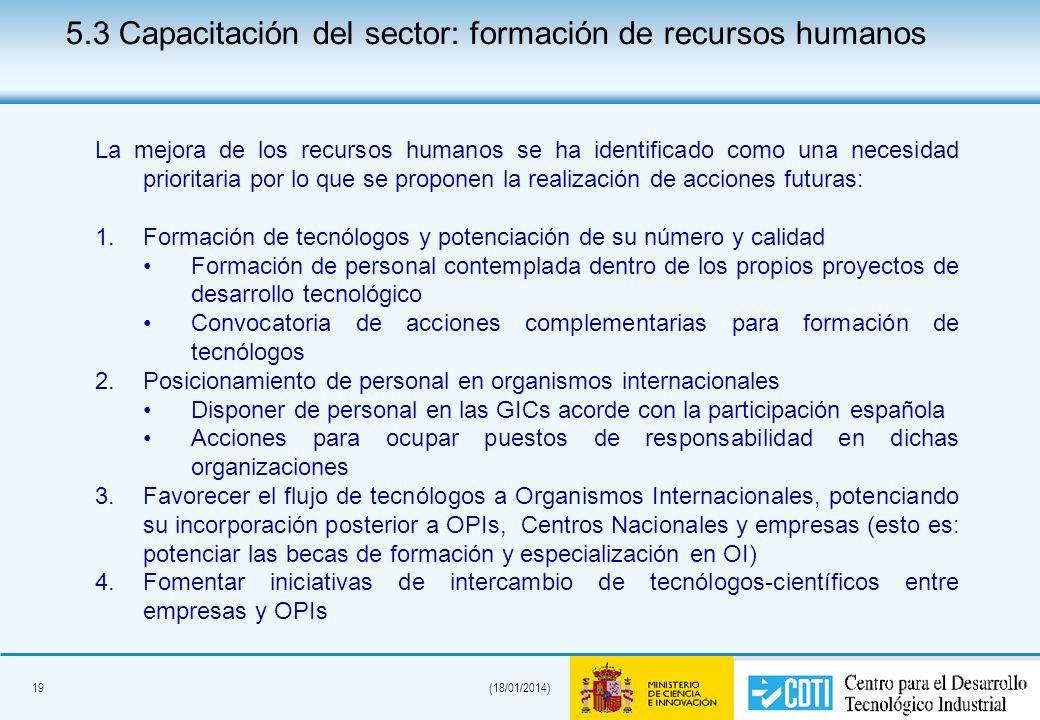 19(18/01/2014) La mejora de los recursos humanos se ha identificado como una necesidad prioritaria por lo que se proponen la realización de acciones f